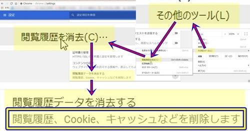 Googleブラウザのキャッシュ削除