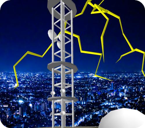 石川テレビ放送の鉄塔とカミナリ