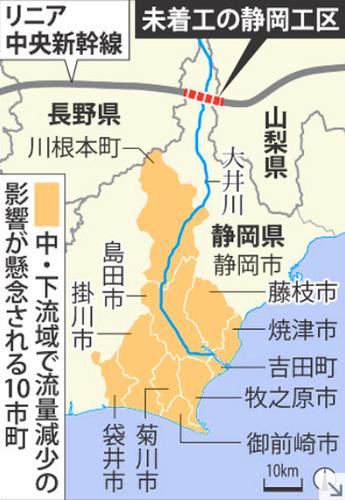 リニア中央新幹線,静岡工区,トンネル,大井川,場所,どこ